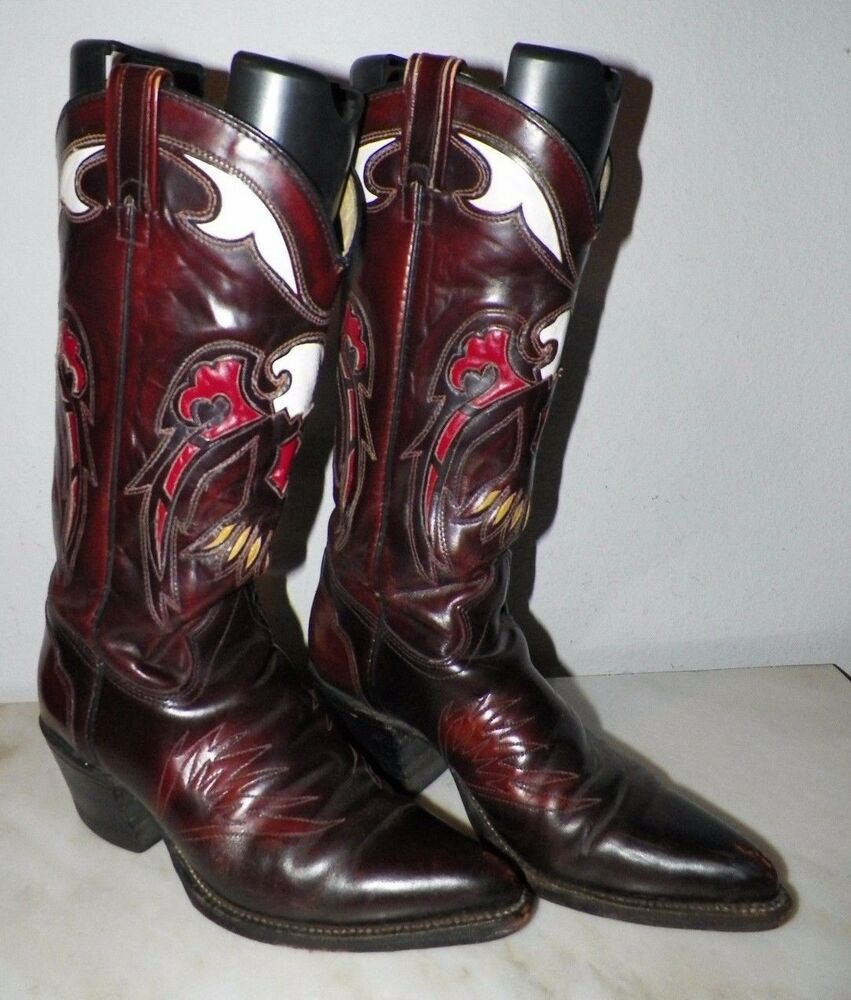 cff97c41f44 MEN's TEXAS FANCY WESTERN COWBOY BOOTS SIZE 7 D BROWN RED & ...