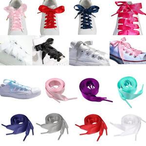 5f1425a6553dbd Flat Shoelaces Ribbon Satin Shoe Laces Strings Kids Youths Sneakers ...