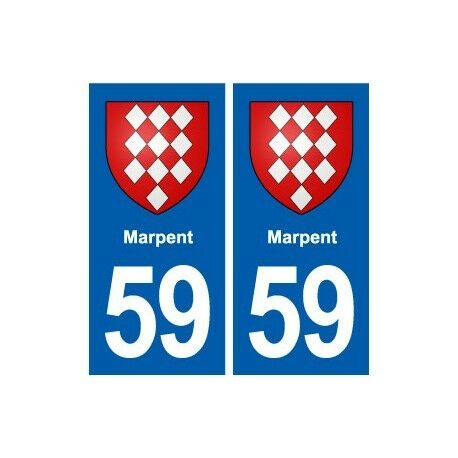 59 Marpent blason autocollant plaque stickers ville -  Angles : droits