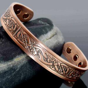 Mens-Bio-Magnetic-Bracelet-Copper-Bracelet-Arthritis-Joint-Pain-Relief-Vikings
