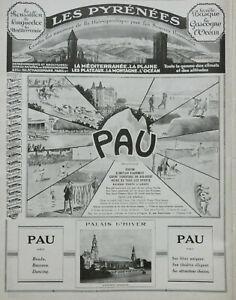 PUBLICITE-DE-PRESSE-1926-LES-PYRENEES-LA-VILLE-DE-PAU-PALAIS-D-039-HIVER-CASINO