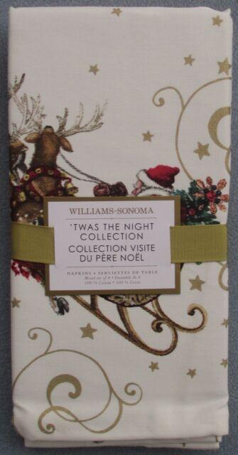 Set of FOUR Williams-Sonoma Twas the Night Before Christmas Cloth Napkins NEW