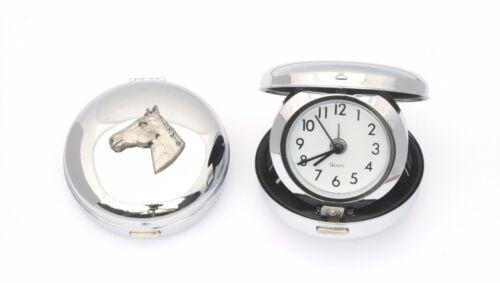 Horse Head Design Nickle Plated Desktop Alarm Clock Horse Riding GIft