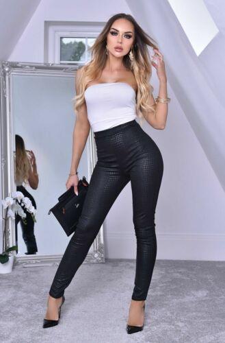 Women Ladies  Black Animal Print Trousers Leggings