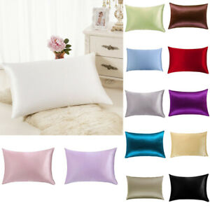 100-Pure-Mulberry-Silk-Pillow-Case-Cushion-Covers-Zipper-Closure-Queen-Natural