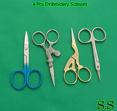 4 Pcs Embroidery Scissors Sewing Paper Craft Manicure Shears
