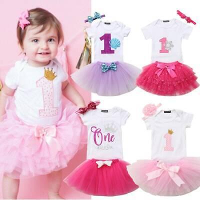 Baby Girls It/'s My First 1st Birthday Cake Smash Outfit Romper Tutu Skirt Headband 3PCS Toddler Princess Dress Costume