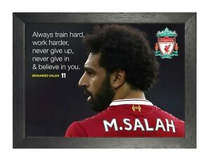 Kunstplakate Antiquitäten & Kunst Motivational Salah 8 Football Player Poster Sport Quote Photo Liverpool Picture