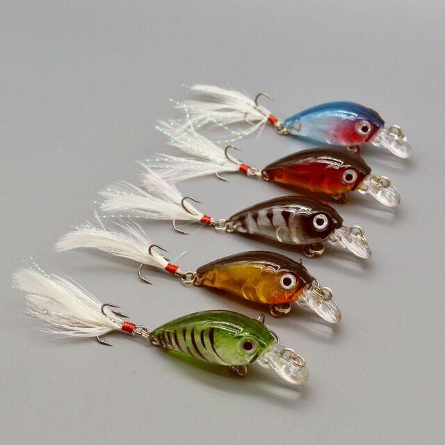 5pcs/lot Bass Crank Baits Feather Hooks Fishing Lures 3.6cm/4g CrankBait Tackles