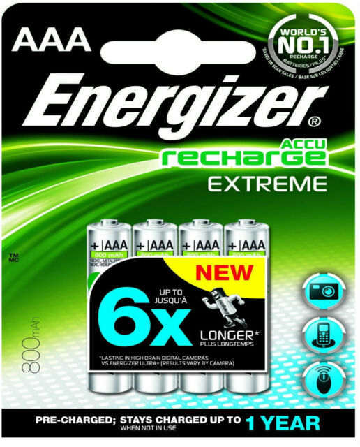 4 x ENERGIZER AAA 800mAh ACCU RECHARGEABLE EXTREME BATTERIES HR03 NiMAH CAMERA