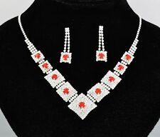 Bridal Jewellery Red Rhinestones Set Drop Earrings & Necklace Choker S222R