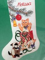 Christmas Stocking Dimensions Crewel Embroidery Three Little Kittens Kit,mip,cat