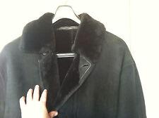 JEKEL PARIS Mens Shearling 100% Sheepskin Fur Coat Jacket XXL Black Suede FRANCE
