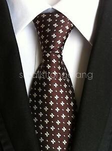 Mens-Classic-Coffee-color-Silk-Tie-Necktie-JACQUARD-Neck-Best-Man-Wedding-gift