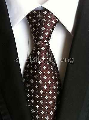 Mens Classic Coffee color Silk Tie Necktie JACQUARD Neck Best Man Wedding gift