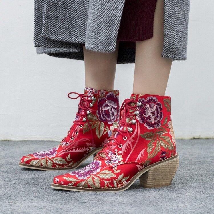 Para Para Para mujeres Con Cordones Bloque Tacón Tobillo botas Zapatos De Invierno Retro Floral Zapatos Talla T153  precio al por mayor