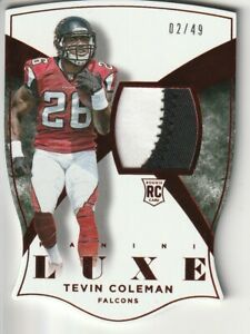 2015-Panini-Luxe-Tevin-Coleman-Rookie-RC-Jersey-Patch-RED-49-80-49ers