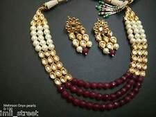 Bollywood Traditional Rani Pearl Beads Bridal Kundan Necklace Jewelry Set BVN206