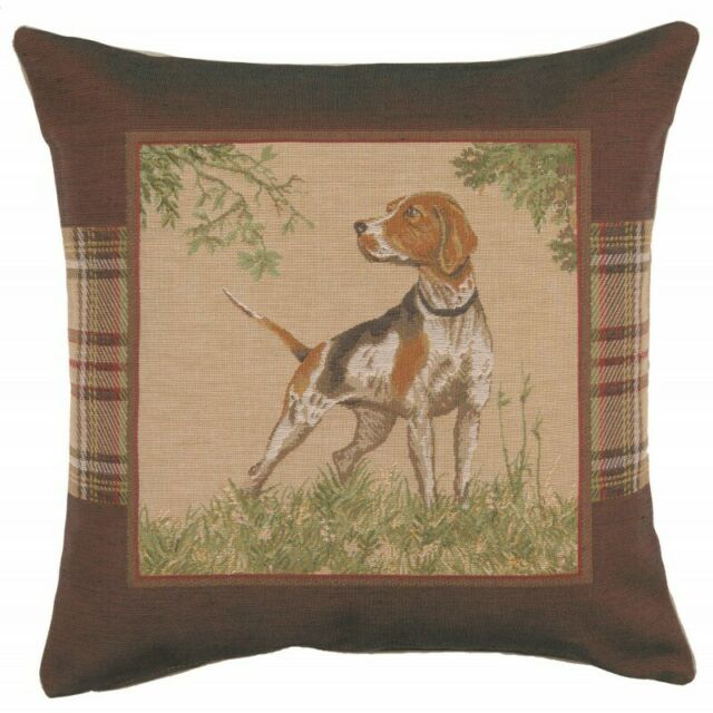 English Pointer Dog Plaid European Woven Tapestry Cushion Cover Cover Only For Sale Online