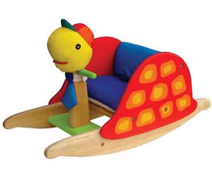 Stoff °°NEU°° Baby SCHAUKEL-SCHILDKRÖTE Schaukelpferd Schaukeltier stabil aus Holz Holzspielzeug