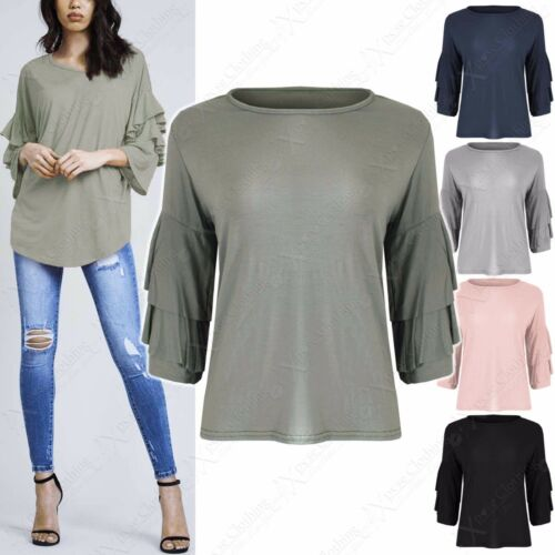 NEW LADIES RUFFLE SLEEVE TOPS WOMENS FRILL LAYERED LOOK ARMS JERSEY PLAIN TOP