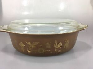 Pyrex-Early-American-Gold-Brown-045-2-5-Qt-Cinderella-Casserole-Bowl-Glass-Lid