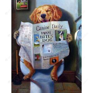 Toilet Dog 5D Full Drill Diamond Painting Embroidery Cross Stitch Kits Art Decor