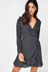 Womens-Ladies-Wrap-Dress-Ruffle-Frill-Dress-Black-white-spot-John-Zack