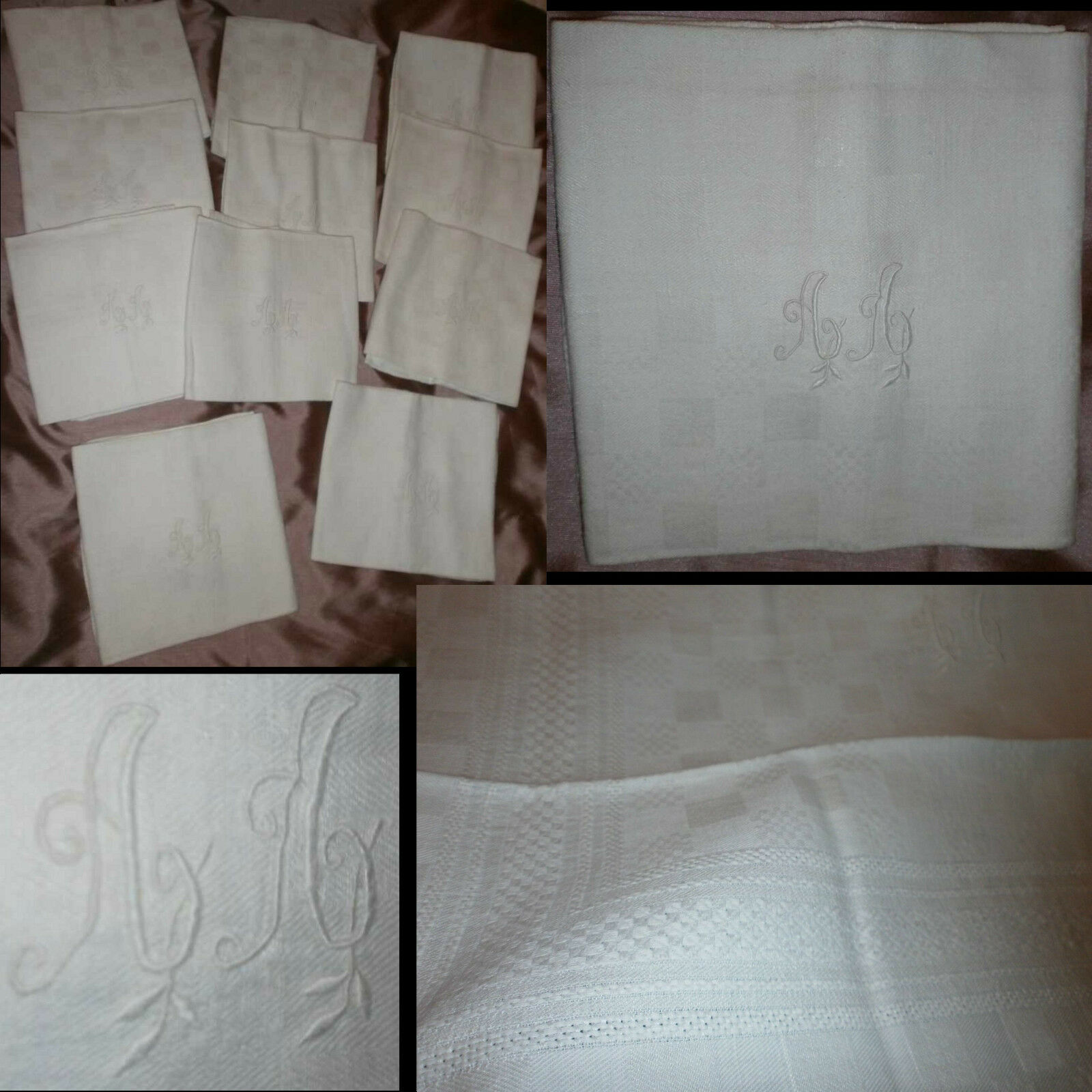 11 serviettes en damas de Coton motifs géométriques - Monogramme   A A   brodé