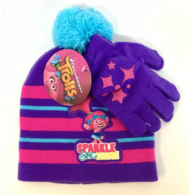 d7745d76d61 One Size Child Girls Dreamworks Trolls Hat   Glove set New With Tags  Pink purple