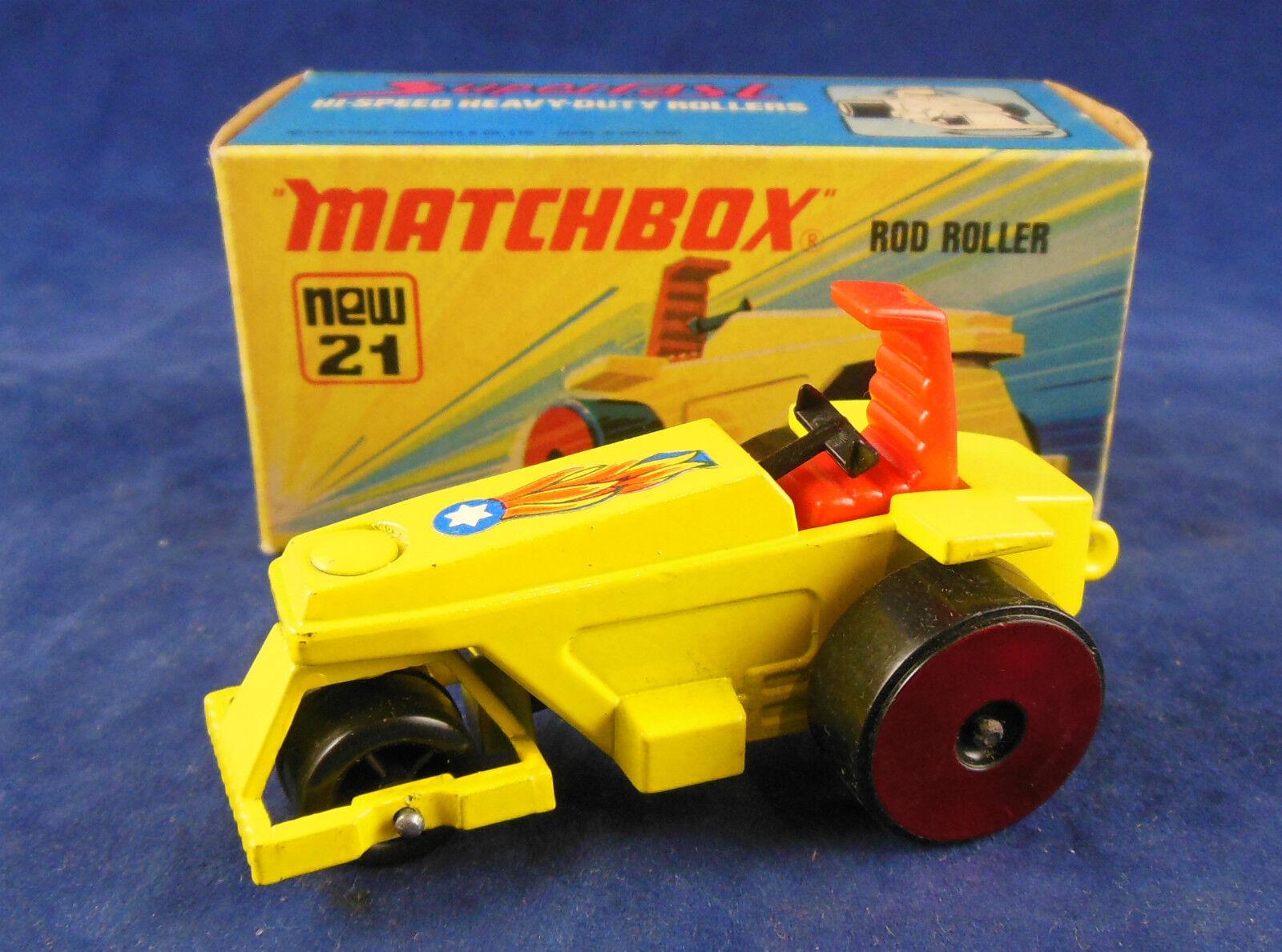 Scarce red wheels Matchbox Superfast No.21b Rod Roller in Yellow  near MIB