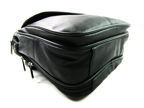 Homme Sac Round Zip Body Crossover Messanger souple noir Unisexe cuir Cartable en Nouveau 1nA4wgqv