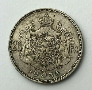 Dated-1934-Silver-Coin-Belgium-20-Francs-Twenty-Francs-Albert-I
