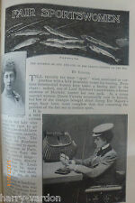 Sports Women Ladies Hunting Fishing Antique 1899 Victorian Illustrated Article