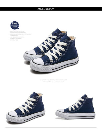 UK Chuck Taylor Boys Girls High Tops Casual Sneaker Trainers Kids Shoes