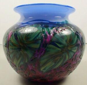 Striking-Multi-Color-Leaf-amp-Vine-Cased-Art-Glass-Bowl-Signed-Lotton-1995