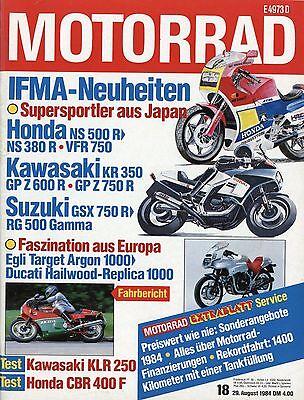 100% Wahr Motorrad 1984 18/84 Ducati Mike Hailwood Replica Mille Kawasaki Klr250 Cbr 400 F