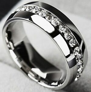 Platinum Steel Alloy 96 Carat Simulated Moissanite Wedding Ring