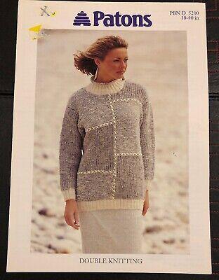 KNITTING PATTERN Ladies Curved Hem Jumper Short Sleeve Sweater Rib Trim Patons