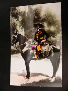 Real-Hand-Colored-Photo-RPPC-Man-on-Horse-Mexico-Mexican-California-CA-Vintage