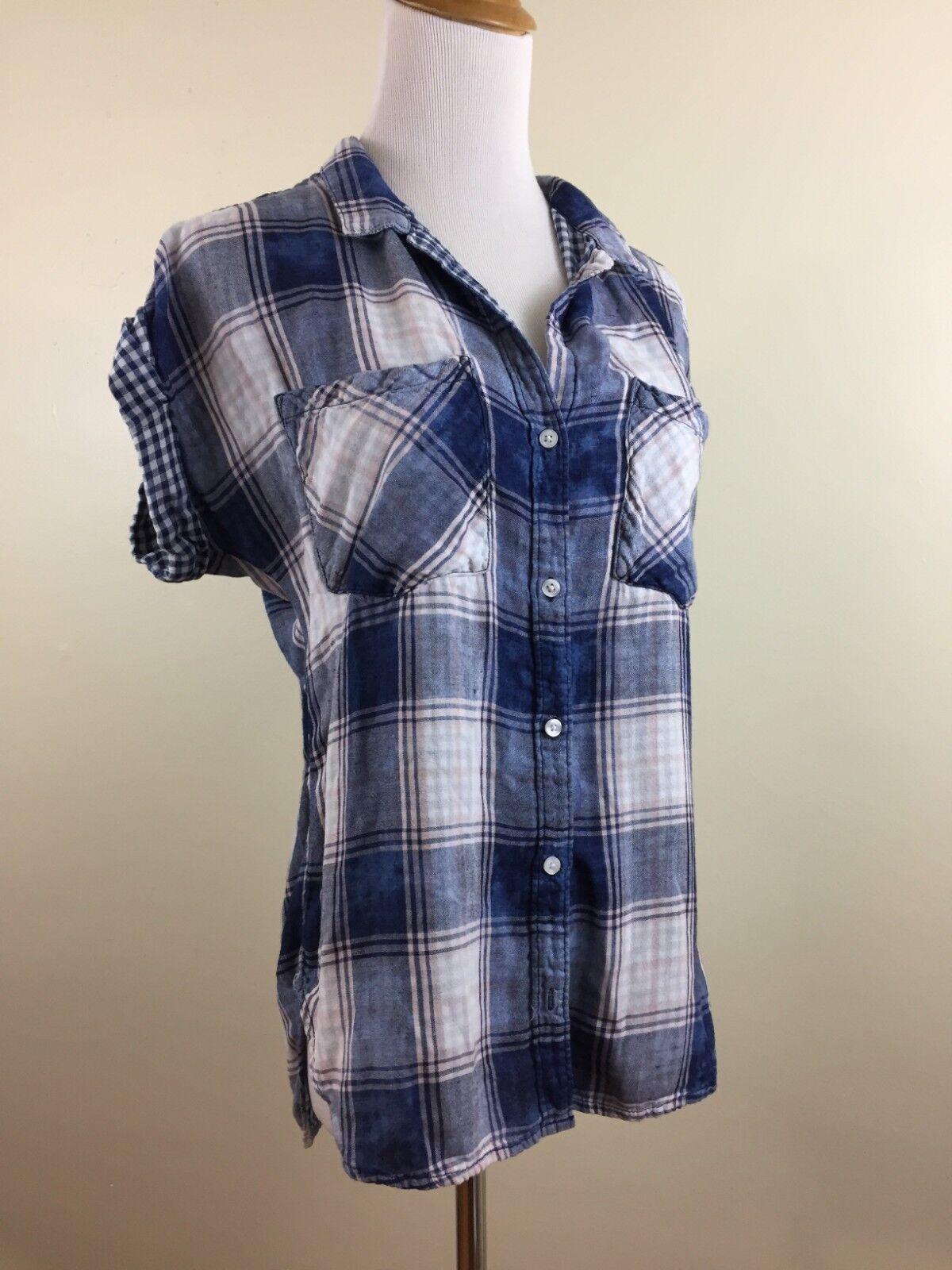 Cloth & Stone Anthropologie damen S Small Blau Weiß Rosa Plaids Checks Shirt