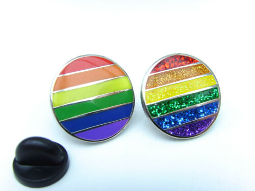 RAINBOW FLAG LGBT MOVEMENT GAY PRIDE ENAMEL GLITTER LAPEL PIN BADGE TIE PIN GIFT