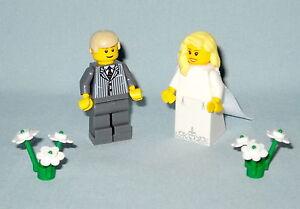 Lego Wedding Minifigure Blue Bride Brown Hair /& Groom Grey Suit Brown Hair