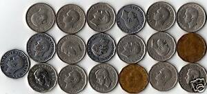 Complete-Year-Set-Of-19-King-George-VI-Era-5-Cent-Coins
