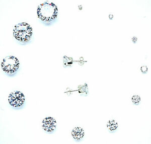 925-STERLING-SILVER-EARRINGS-STUD-CLEAR-CUBIC-ZIRCONIA-UK-sellr-SOLID-SILVER