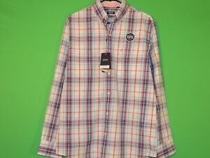 IZOD-Mens-Size-S-Small-Natural-Stretch-Plaid-Long-Slv-Button-Shirt-NEW