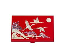 Korean Mother Of Pearl Id Card Holder Name Card Nacre Business Card Case Red