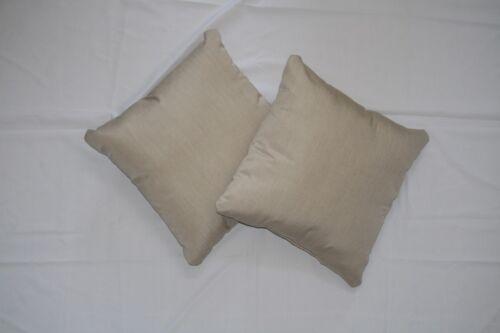 Throw Pillows Sunbrella Canvas Flax 5492 Solid Beige Square Acrylic Set//2