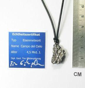 Meteorit-Campo-del-Cielo-Anhaenger-mit-Lederband-Sternschnuppe-neu