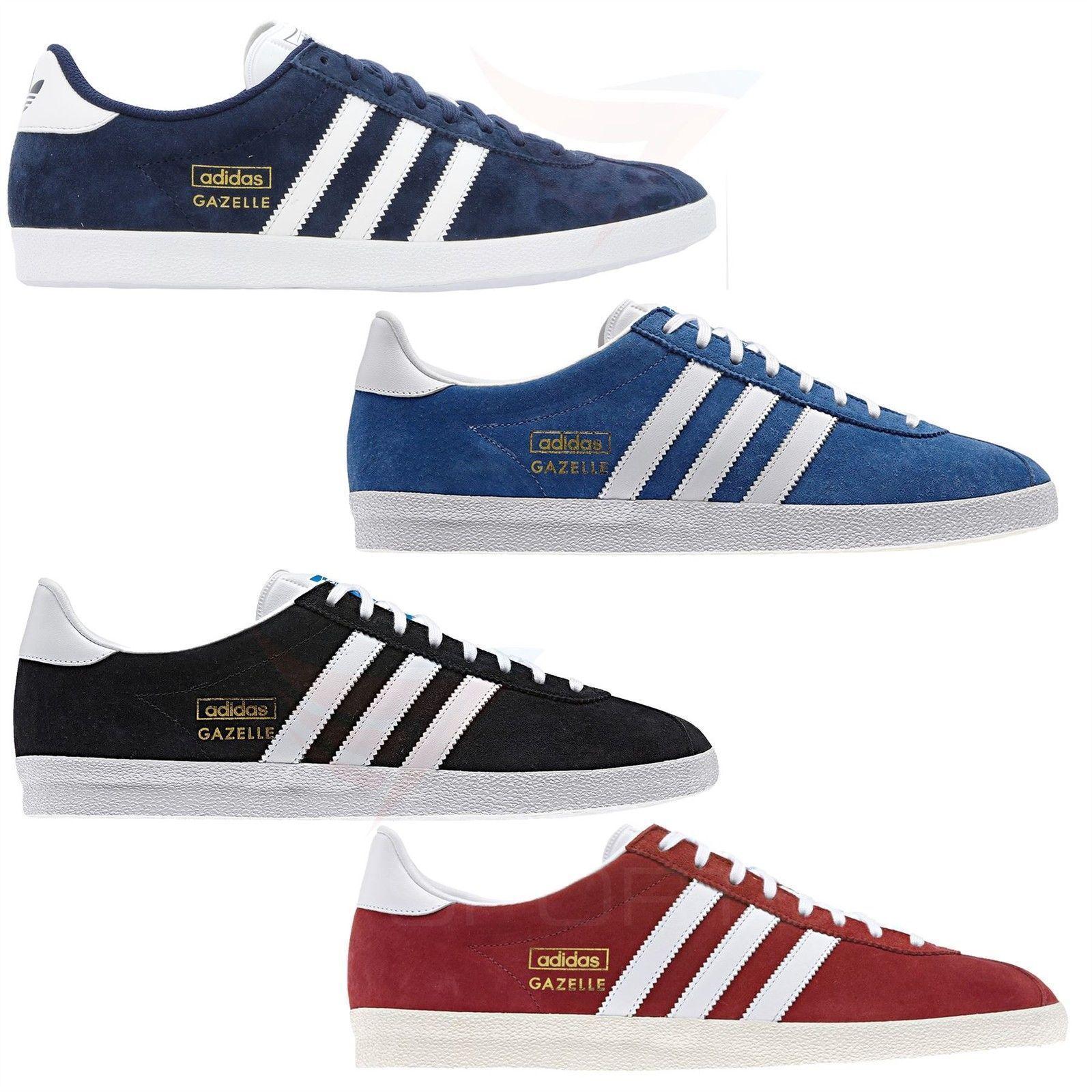Adidas, Gazella Og, de moda clásica, zapatos de deporte rojo, negro, azul y marino.